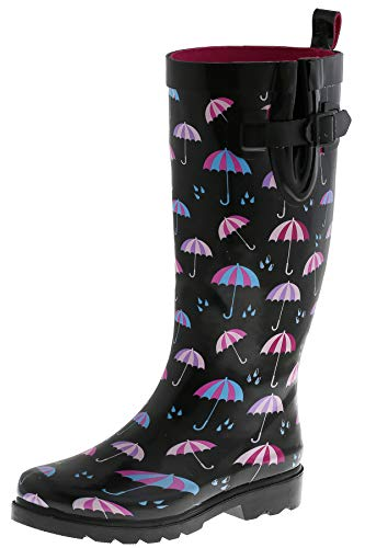 - Capelli New York Ladies Umbrella Rainy Day Printed Tall Rain Boots Black Combo 6