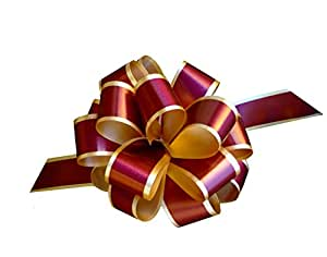 """Burgundy Gold Christmas Gift Wrap Pull Bows - 5"""" Wide, Set of 10"""