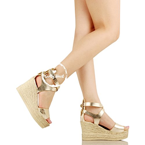 Bottom Wrap Summer Guilty Gold Pu Open Casual Braided Wedge Toe Heart 02 Comfortable Platform Ankle Womens Sandal wqqPXvR
