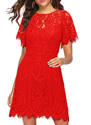 Little Red Dress Womens Floral Lace Special Occasions Elegant V-Back Cocktail Party Outdoor Semi Formal Evening Shift Dresses for Junior 910 (S, Red)