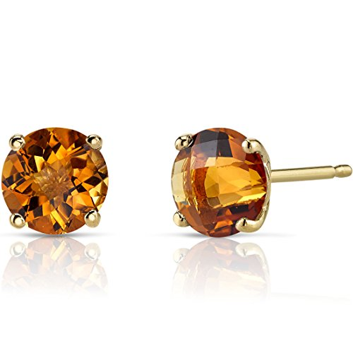 (14K Yellow Gold Round Cut 1.75 Carats Citrine Stud Earrings)