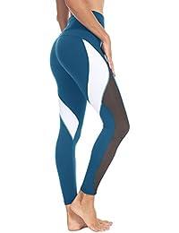 Women Yoga Pants Color Blocking Mesh Workout Running Leggings Tights