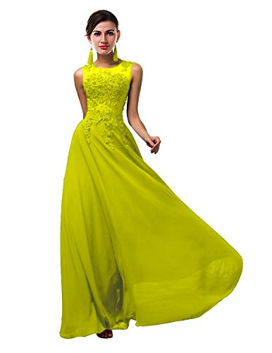 VaniaDress Women Elegnat Lace Sheer Neck Bridesmaid Evening Dress Prom Gown V002LF Yellow US18W