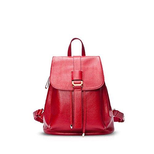 NICOLE&DORIS Nuevo Mode Mochila Bolsa De Viaje Mochila Bolso del Hombro Suave Durable PU Rojo Rojo