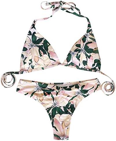 Push up Playa Beachwear Mujer de Moda Bikini Set Traje de baño Push-Up Acolchado Estampado de Flores Sujetador Sujetador Beachwear de Verano Ropa De Playa con Volantes con Escote en v, Tankini