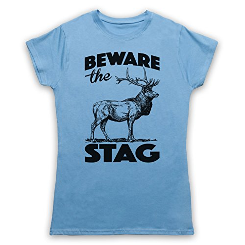 Beware The Stag Stag Do Slogan Camiseta para Mujer Azul Cielo