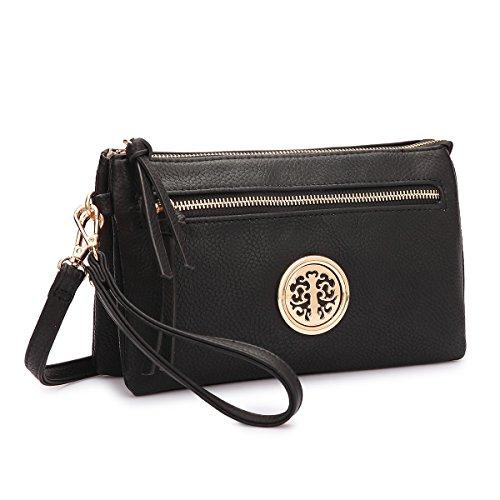 Fold Over Satchel (MMK Collection Fashion Crossbody Bag ~Messenger Purse~Crossbody Bag for Women~Designer Fashion Wristlet Wallet Multi Pocket Clutch Purse (MA-18-7217 Black))