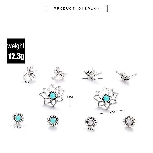 5 Pairs/Set Jewelry Stud Earrings Set Turquoise Lotus Flower Dragonfly Leaves