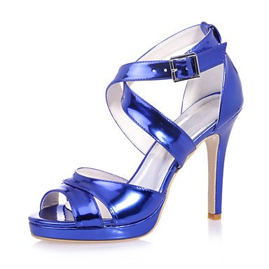 EU39 US8 Leather Blue Party Women's Gold Summer CN40 Silver Stiletto 5 Patent UK6 5 Fall FYios Spring amp; Heel Evening Wedding wZXBqTB