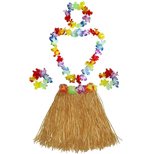 Fighting to Achieve 40cm Performance Grass Skirt with Flowers Bracelets Headband Necklace Hula Set -