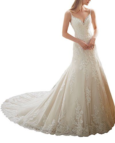 Elley Women's V-Neck Spaghetti Straps Lace Applique Court Train Beaded Backless Church Wedding Dress White ()