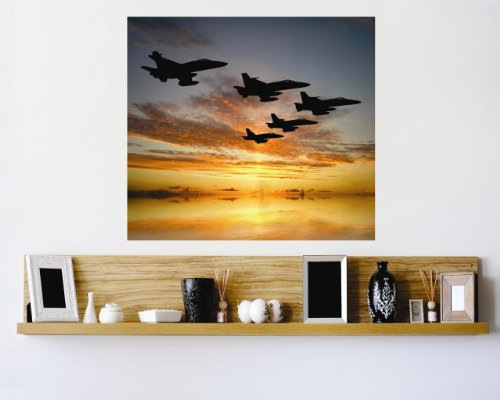 Vinyl Wall Decal Sticker : Jet Aircraft Sunset Outdoor Scene Bedroom Bathroom Living Room Picture Art Peel & Stick Mural - Discounted Sale Price Size: : 40 Inches X 60 Inches - 22 Colors Available