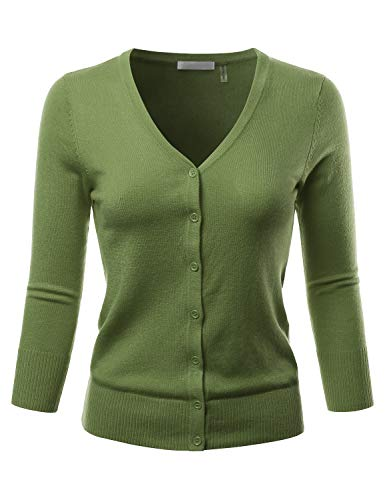 EIMIN Women's 3/4 Sleeve V-Neck Button Down Stretch Knit Cardigan Sweater SAGE 2XL