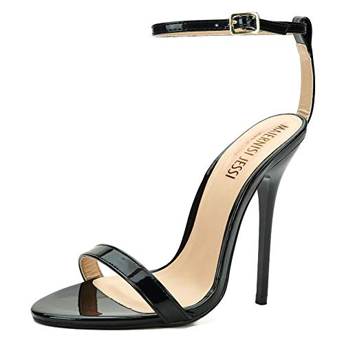 MAIERNISI JESSI Unisex Men's Women's Ankle Strap Stiletto High Heel Dress Sandals Patent Black EU38 - Size 6 M US Women / 5 M US Men - Patent High Heel Stiletto Sandals