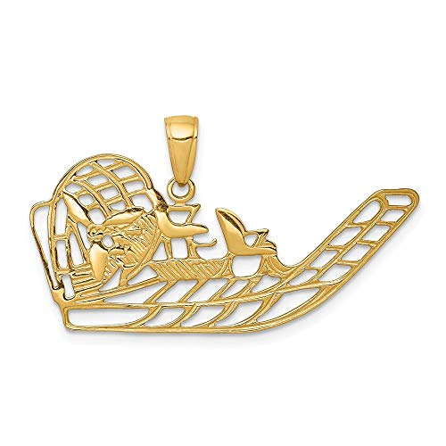 14k Yellow Gold Air Boat Pendant Charm Necklace Sea Shore Boating Man Fine Jewelry Gift For Dad Mens For Him