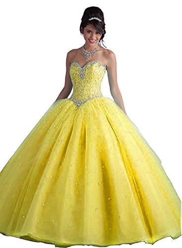 yellow Prom with Crystal Long Women's Style1 Dresses Beilite Sequins Gown Quinceanera Sweetheart PESaWqw