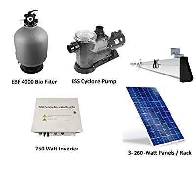 Solar Pump Pond Filter System Package Produces 5,000 Gallons per Hour on Three 260 Watt Solar Panels