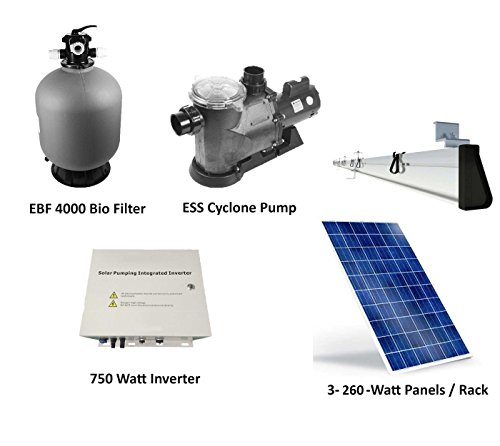 Solar Pump Pond Filter System Package Produces 5,000 Gallons per Hour on Three 260 Watt Solar Panels