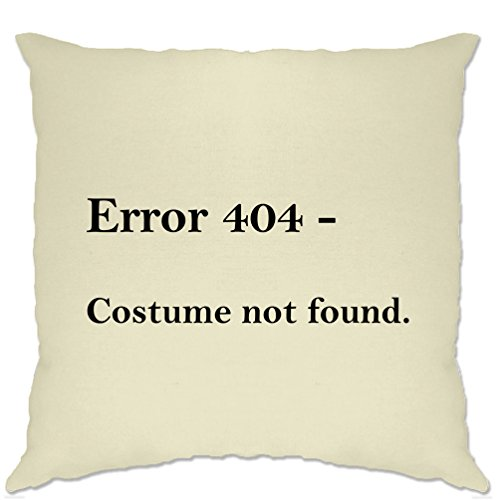Tim And Ted Nerdy Halloween Cushion Cover Error 404, Costume Not Found Natural One Size ()