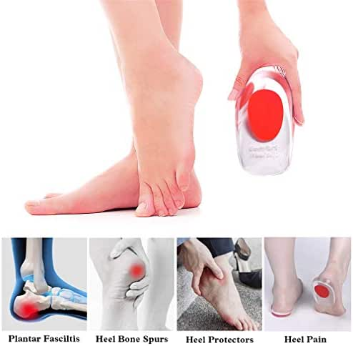 Gel Heel Cushion & Heel Cups for Plantar Fasciitis, Supcare Medical Silicone Heel Pads Protectors, Red Heel Shoe Inserts for for Bone Spurs/Heel Pain for Women Shoes Size 5-7.5