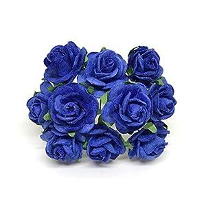 2cm Royal Blue Paper Flowers Paper Rose Artificial Flowers Fake Flowers Artificial Roses Paper Craft Flowers Paper Rose Flower Mulberry Paper Flowers, 25 Pieces 48