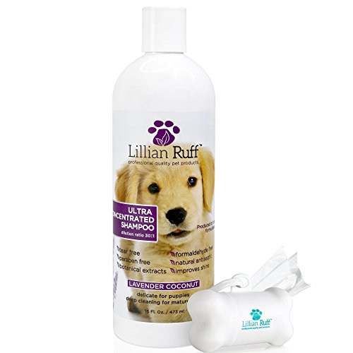 (Lillian Ruff Professional Dog Shampoo - Concentrated Dog Shampoo with Aloe - Safe for Cats - Tear Free Lavender Coconut Scent - Soothe & Cleanse Normal to Dry Itchy Sensitive Skin - Made in USA)