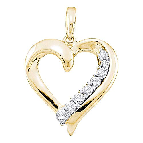 The Diamond Deal 14kt Yellow Gold Womens Round Diamond Heart Pendant 1/4 Cttw