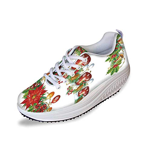 Christmas Stylish Shake Shoes,Traditional Garland Designs with Flowers Socks and Bells Mistletoe Candy for Women,8