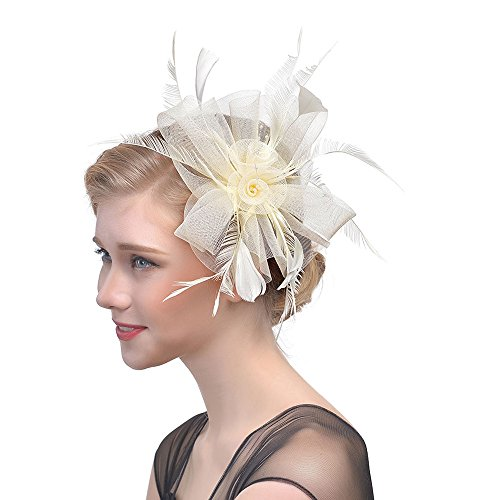 Women Flower Mesh Ribbons Feathers Headband, Starcy Bridal Mesh Headdress from starcy Headwear