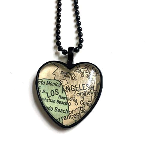 Los Angeles California USA Beverly Hills Map Necklace Pendant Black Atlas GH-805