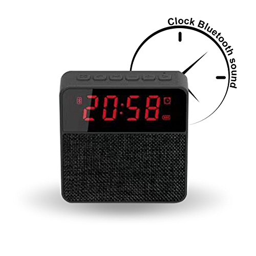 DLciwi Portable Wireless Stereo speaker Mic FM Radio Clock Speaker, Micro TF, USB, Input/AUX Line-In for iPad iPhone Android Phones Black