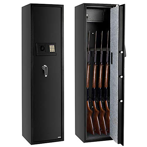 FCH Gun Safe Electronic 5-Gun Rifle Safe Large Firearm Safe Cabinet Quick Access Gun Storage Cabinet with Small Lock Box for Handguns Ammo┃Codes Memory Function┃Upgraded Package (Safe Gun Amazon)