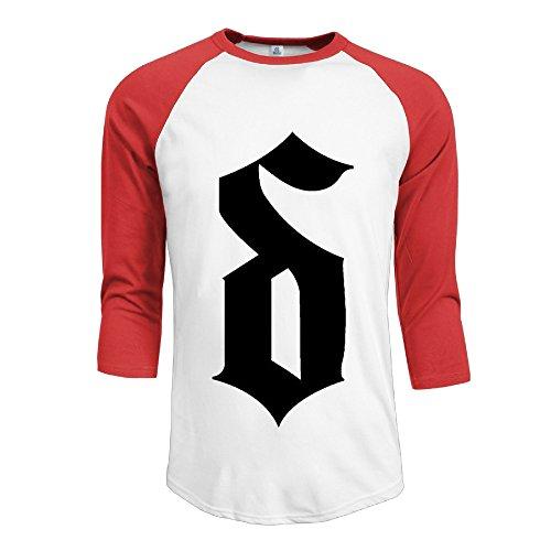 Mens Shinedown 100% Cotton 3/4 Sleeve Athletic Raglan Sleeves T-Shirt Red US Size XL