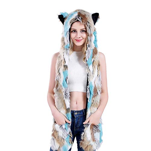 Blue Cat Animal Hat Spirit Hood Full Hat Scarf Pockets s 3 in 1 Ear Flat Cap Hoodie Furry Gloves Paws Mittens Party Costume Gift for Women Men Adult Teen Daughter Girlfriend -