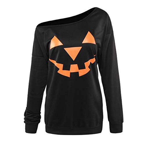 (Niyage Women's Halloween Sweatshirts Pumpkin Face Shirt Easy Costume Fun Tops Off Shoulder-Black)