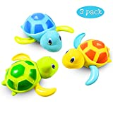 aovowog Baby Bath Toys Clockwork Turtle For Toddlers Boys Girls,Wind up Water Toys Swimming Turtle Summer Pool Bathroom Float Toy Best Child Plastic Bathtub Baby Shower Set For Bath Fun Time(3 Colors)