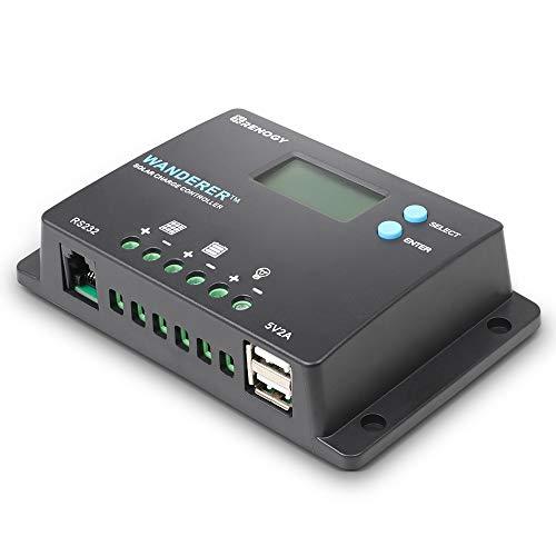 Renogy Wanderer 10 Amp 12V/24V PWM Negative Ground Solar Charge Controller Regulator Compatible with Bluetooth Module