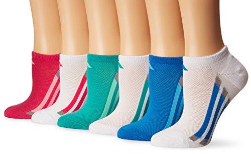 adidas Girls Cushioned No Show Socks (6-Pack), White/Shock Pink/Bright Blue/Shock Mint/Light Onyx, Large