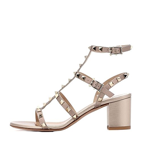 - Comfity Sandals for Women,Rivets Studded Strappy Block Heels Slingback Gladiator Shoes Cut Out Dress Sandals