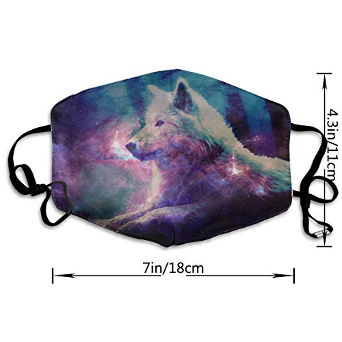 Mouth Mask For Daily Dress Up, Galaxy Wolf Anti-dust Mouth-Muffle, Washable Reusable Holiday Half Face Masks For Mens And Womens With Adjustable Earloop