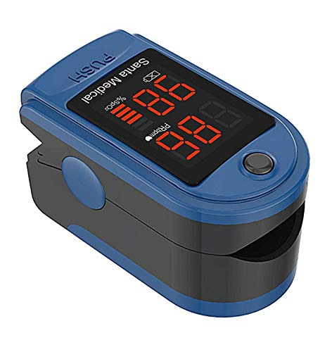 Santamedical SM-150 Fingertip Pulse Oximeter Oximetry Blood Oxygen Saturation Monitor with Carrying Case, Batteries and Lanyard ()