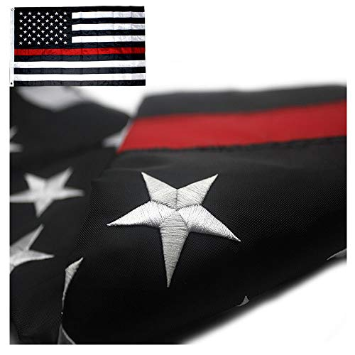 - VSVO Thin Red Line American Firefighter Flag 3x5 ft with Embroidered Stars and Sewn Stripes with Grommets Black Red and White US Flag