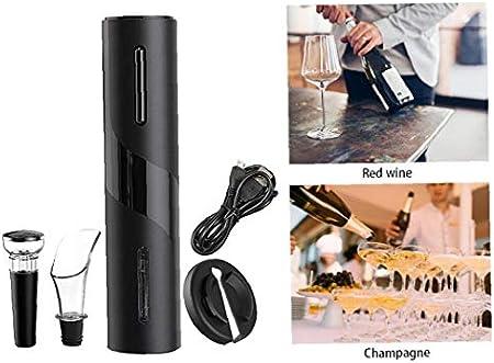shentaotao Botella de Vino Sacacorchos Eléctrico Sacacorchos automático Vino Abridores Conjunto de Carga USB con la línea para el hogar Partido Restaurante Negro