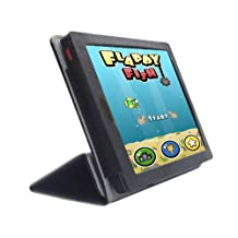 iShoppingdeals - for Kobo Arc 10 HD K110 Tablet PU Leather Folio Smart Cover Case, Black