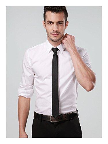 Landisun AF70G30 Black Narrow Slim Solids Skinny Mens Silk Neck Tie 2inch