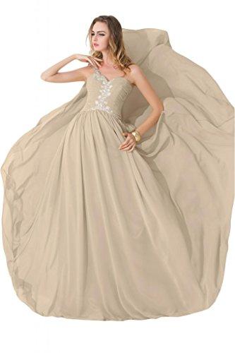 sunvary modesto One hombro gasa único beidesmaid Pageant vestidos 2015 champán