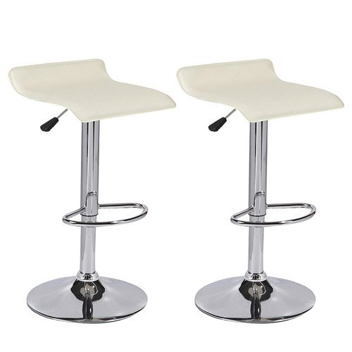 - Mecor PU Leather Adjustable Hydraulic Bar Stools,Counter Height Swivel Square Bar Chairs,Set of 2,Cream