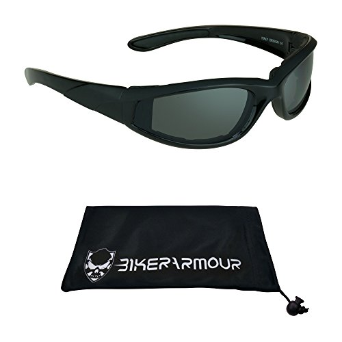 Motorcycle Sunglasses Vented EVA Foam Cushion for Men and Women with Polycarbonate Safety Smoke Lenses. Free Microfiber Cleaning - Sunglasses Motorcycles Riding For Best