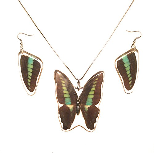 The Real Insect Co. Authentic Butterfly Jewelry (Blue Bottle Swallowtail Earrings & Necklace Set)