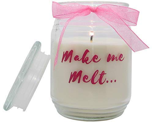 T&H Funny Novelty Gift Candles Buttercream Vanilla Coconut Almond Essential Oils 100 Hour Burn Long Lasting for Partner, Wife, Husband, Girlfriend, Boyfriend (Make Me Melt)